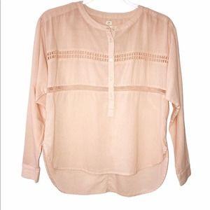 Loft Peach Pink Softened Popover Shirt XXS Petite